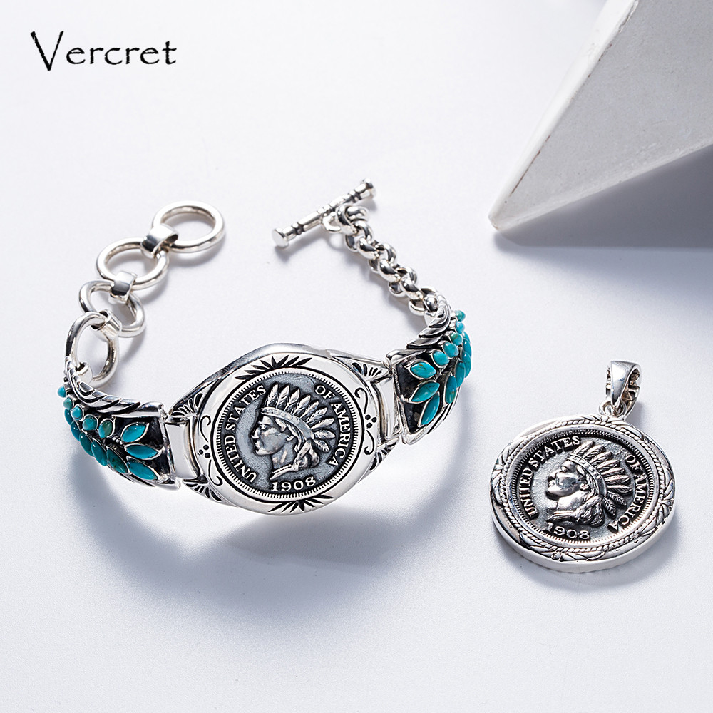 Vercret Vintage Native American 1908 Solid Grade Indian Head Penny Bracelet Bangle for Turquoise 925 Silver Jewelry Bracelet vercret turquoise 925 silver native american indian chief head ring for women vintage fine jewelry ring