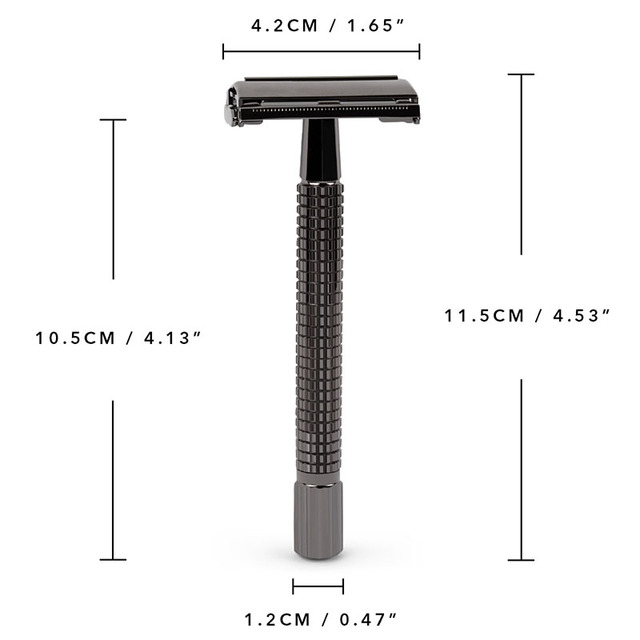 QShave Long Handle Butterfly Open Classic Safety Razor Double Edge Safety Razor Gunblack Color Razor