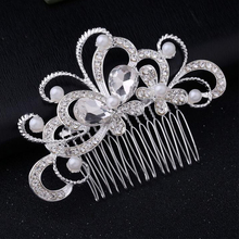 Wedding Hair Comb Clip for Bridal Rhinestone Hairpins Diamond butterfly comb for Bride Pearl Hair Side Combs Jewelry for Women недорого
