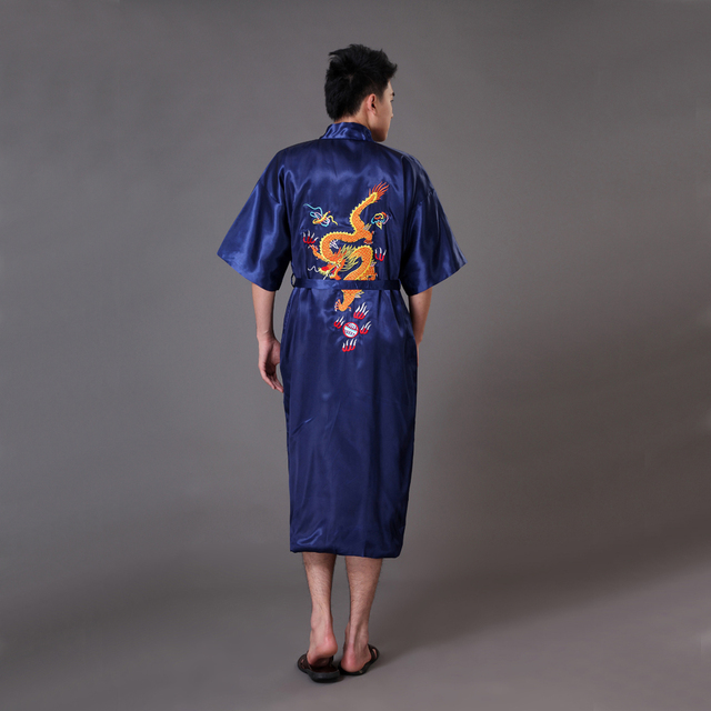 caa14075ed Summer Navy Blue Men Satin Kimono Bath Robe Gown Chinese Handmade Embroidery  Dragon Sleepwear Pajamas S M L XL XXL XXXL MR022