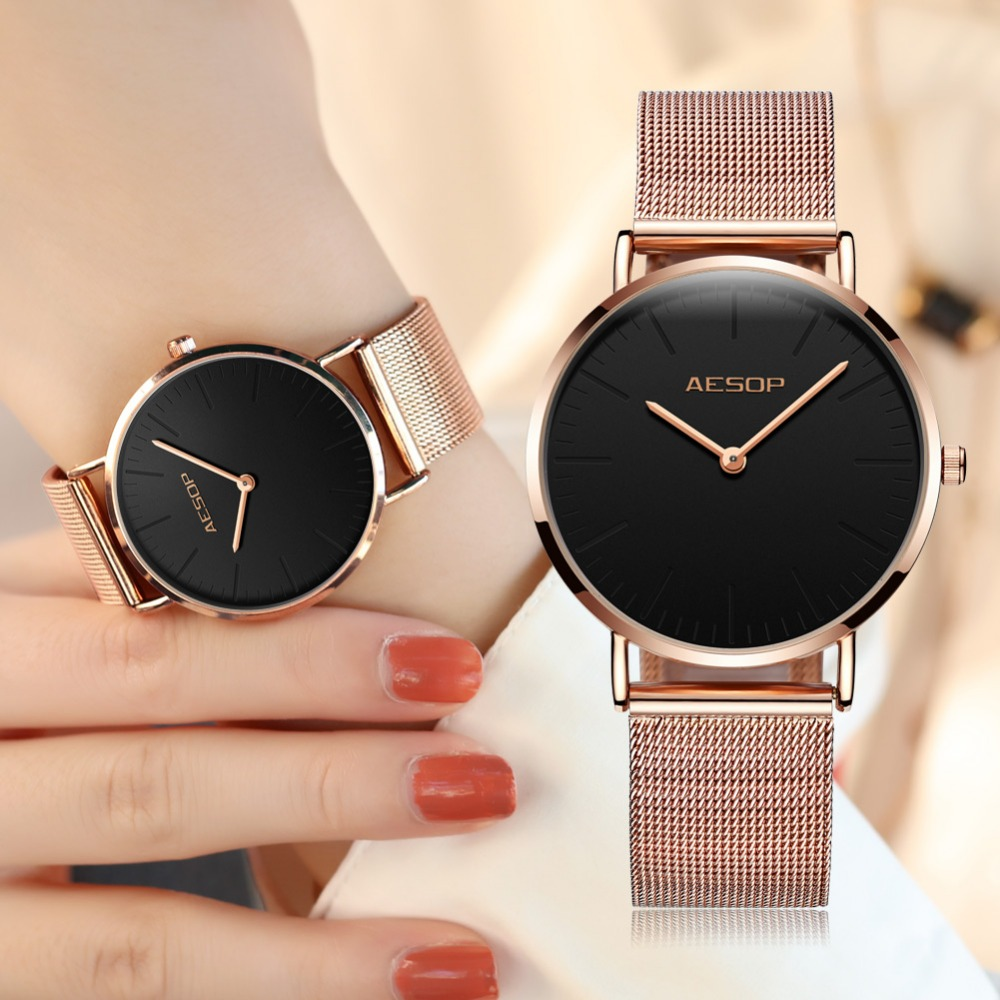 Quartz Ladies Watch Brand Luxury AESOP Women Watches Stainless Steel Rose Gold Watches Sport Wrist Watches relogio feminino 2018 women watches ladies gold silver stainless steel mesh band wrist watch luxury relogio feminino watches men luxury brand unisex