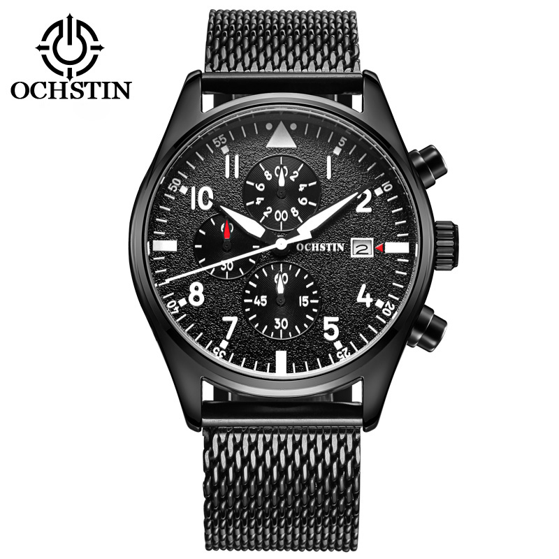 OCHSTIN Men's Quartz-Watch Stainless Steel Mesh Band Black Sports Watch Male Chronograph Mens Watch Top Brand Relogio Masculino mens stainless steel band watch with big round dial male analog quartz metal sports wristwatch relogio masculino montre homme