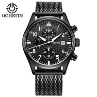 OCHSTIN Men S Quartz Watch Stainless Steel Mesh Band Black Sports Watch Male Chronograph Mens Watch