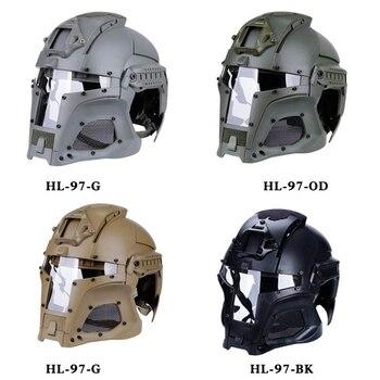 fc9f62a6c01 Casco táctico militar Airsoft Paintball con lente de PC casco táctico cascos  de cobertura completa accesorios para CS Wargame casco de disparo