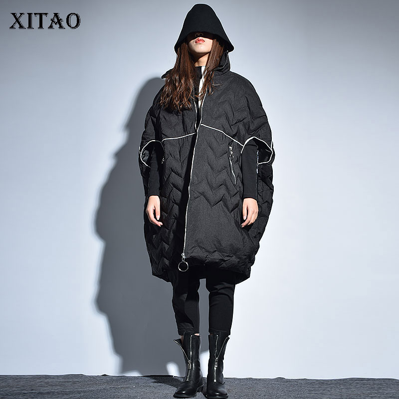 [XITAO] Korea Fashion Women 2019 Spring Turtleneck Half Sleeve Loose Solid Color Pleated Long Batwing Sleeve   Parka   Coat ZLL2606