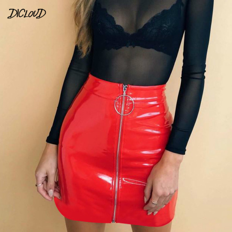 DICLOUD 2019 Fashion PU Leather Skirt Women Harajuku Zipper High Waist Skirt Female Streetwear Summer Tight Mini Skirts XXL