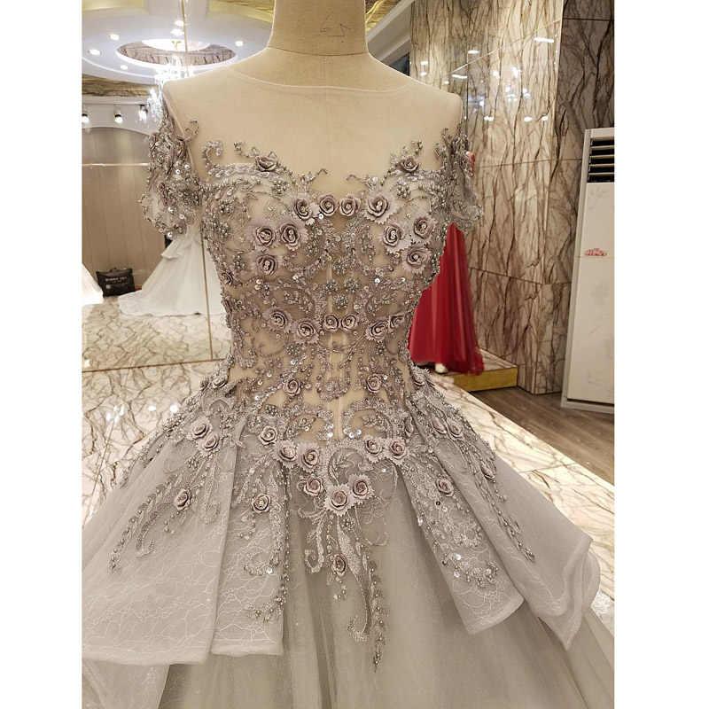 2017 נדל תמונה אפור כדור שמלת חתונת שמלות סקופ תחרה אפליקציות 3D פרחי חרוזים נסיכת בציר חתונה כלה שמלות