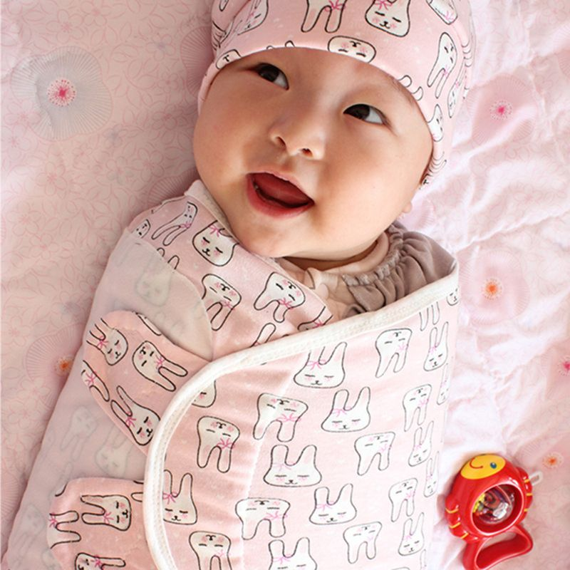 Newborn Swaddle Wrap +Hat+Gloves Soft Cotton Baby Receiving Blanket Bedding Cartoon Cute Infant Sleeping Bag For 0-6 Months