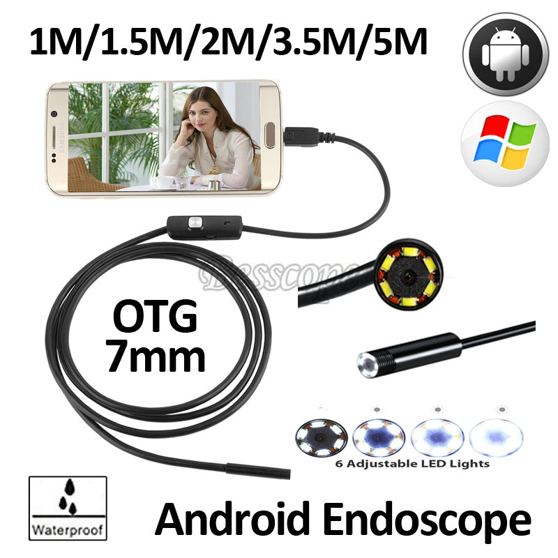 7mm Lens OD Android OTG USB Endoscope Camera 1M 1.5M 2M 3.5M 5M Waterproof Snake USB Pipe Inspection Android Borescope Camera headset bullet usb otg compatible android smartphones digital camera