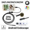 7mm Lente OD Android OTG del USB Del Endoscopio de La Cámara 1 M 1.5 M 2 M 3.5 M 5 M USB Impermeable de La Serpiente Pipe Boroscopio Inspección Android cámara