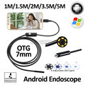 Lente de 7mm OD Android OTG USB Endoscópio Camera 1 M 1.5 M 2 M 3.5 M 5 M Impermeável Endoscópio Snake Inspeção Tubo USB Android câmera