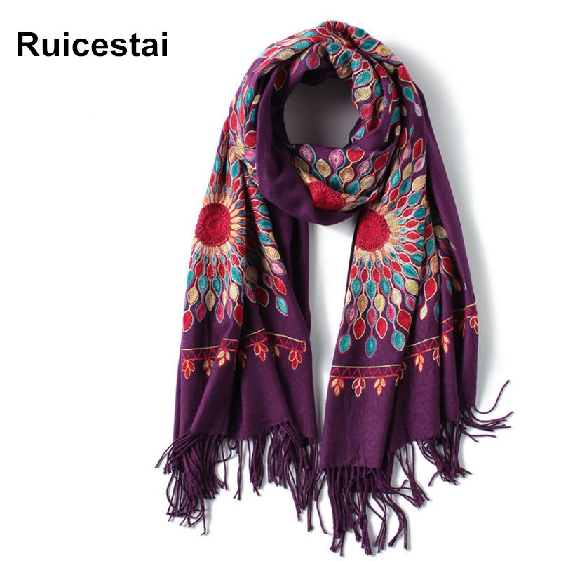 2019 winter   scarf   for women vintage Embroidery thick warm cashmere   scarves   shawls and   wraps   pashmina ladies bandana echarpe