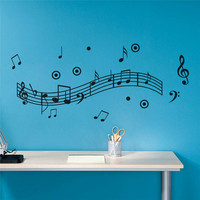 Musical Notes Wall Sticker Dance in the Wind Music Notation Wall Stickers Home Decoration Music Shop Classroom Fashion DIY