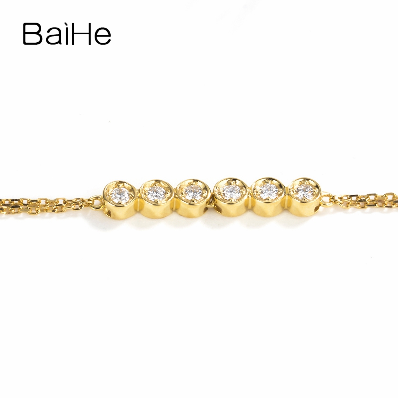 BAIHE Solid 18K Yellow Gold(AU750) 0.12CT F-G/SI Round Full Cut 100% Genuine Natural Diamonds Engagement Trendy Jewelry Bracelet baihe solid 18k yellow gold au750 engagement