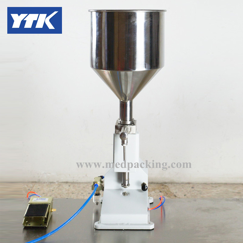 YTK Pneumatic Filling Machine (5~50ml) for Cream & Shampoo & Cosmetic with foot pedal zonesun pneumatic a02 new manual filling machine 5 50ml for cream shampoo cosmetic liquid filler