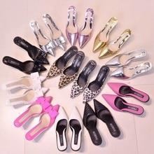 Fashion Women Slippers Slip On Mules Pointed Toe Med Heel Women Shoes Summer Slingback Sandals Brand Heel Slipper Wedding Shoes