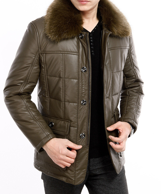 Autumn and winter men's faux leather jacket lapel casual cotton padded jacket with faux fur collar Free Shipping