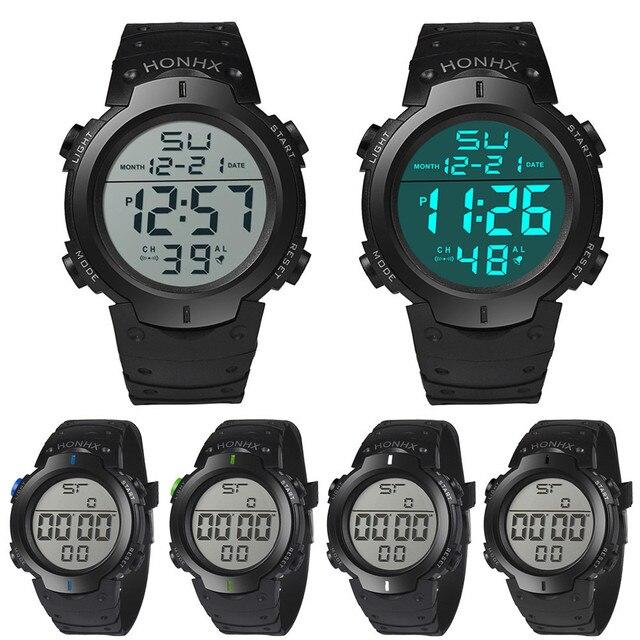 6ca22b9e20ce HONHX de moda reloj Digital deporte reloj impermeable de los hombres chico  LCD cronómetro fecha muñeca