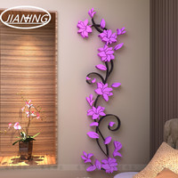 3D Three Dimensional Crystal Wall Stickers TV Backdrop Decoration Modern Decorative Flowers Living Room Sofa