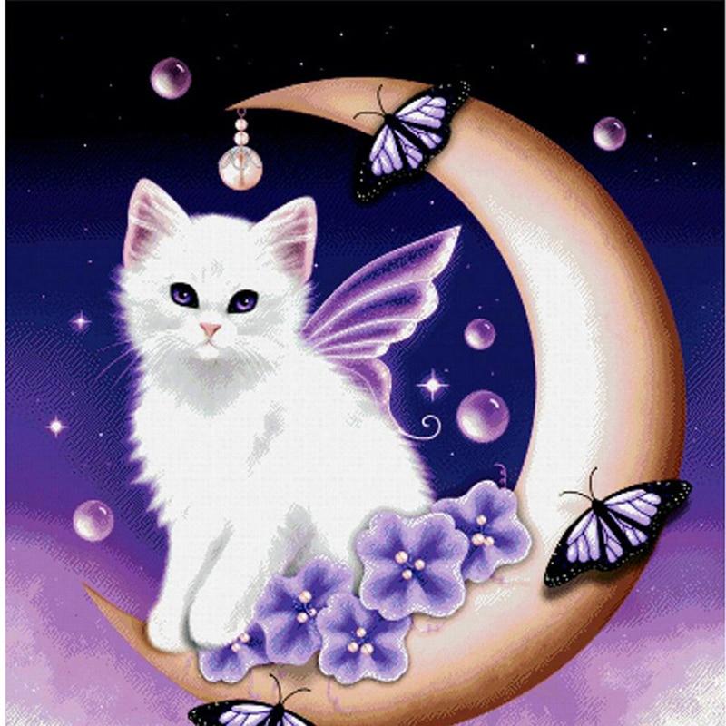 5D DIY Diamante Mosaico de Dibujos Animados Gatos Luna de ...