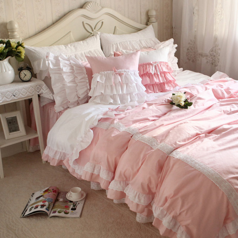 New sweet lace pink bedding set patchwork ruffle duvet cover wrinkle bed sheet bedroom decoration bedding