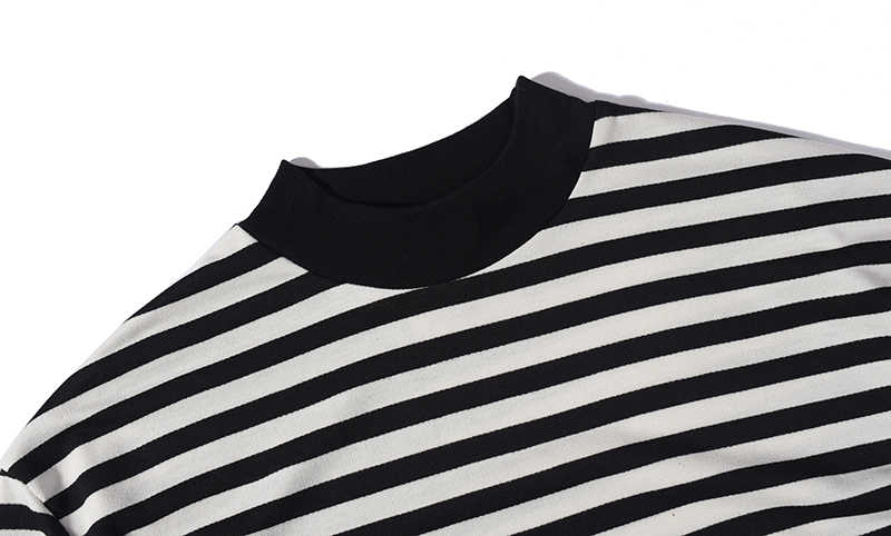 0215cee7 ... Men oversized black white stripe long Sleeve T-shirt streetwear hip hop  plus striped tee