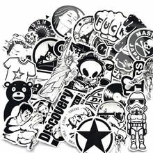 NEW60 PCS black and white waterproof removable graffiti car skateboard luggage sticker bicycle motorcycle sticker kids sticker