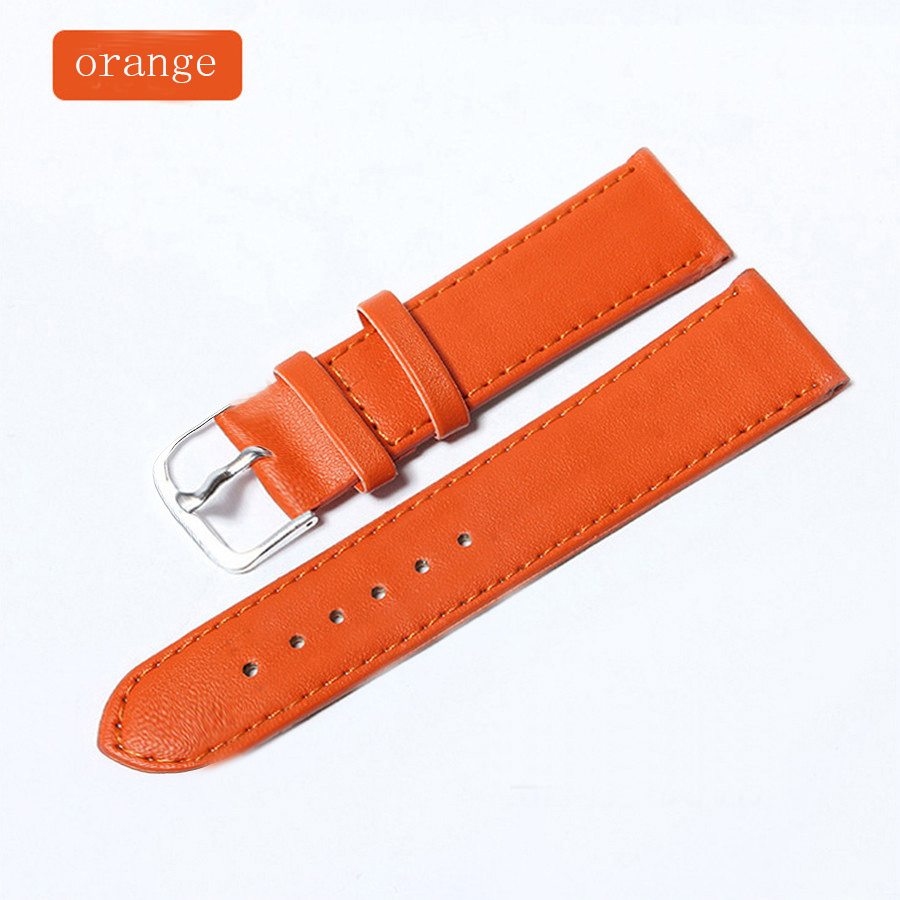 11 Colors Women's Watchbands Leather Watch Strap Stainless Steel Buckle Belt Buckle, 12.14,16.18,20mm