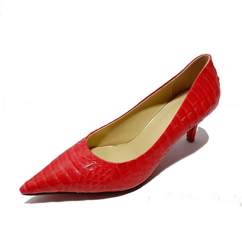 Mariage Mi Pompes Chaussures Femmes Réel Dames Haute En Printemps Sexy Bout Nouveau Qaulity De Pointu Cuir Rouge Talons Serpent Motif YxBHSWvq