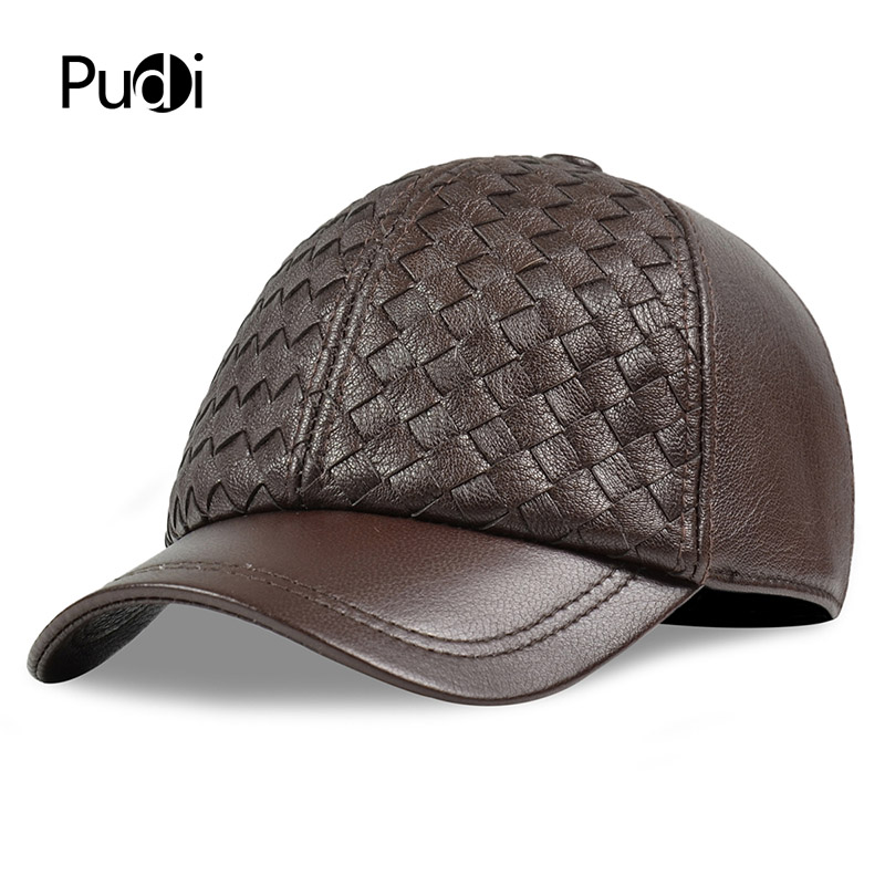 Pudi men genuine leather cowskin cap 100% Real Leather Russian winter warm army with ears solid color fashion hats HL188
