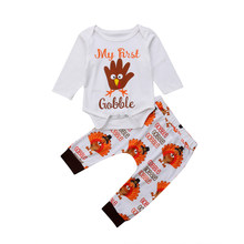 491716456 My 1st Newborn Infant Kid Baby Boy Baby Girl Clothes Cotton Popular Thanksgiving  Outfits Clothes Romper Leggings Pants Set 2Pcs