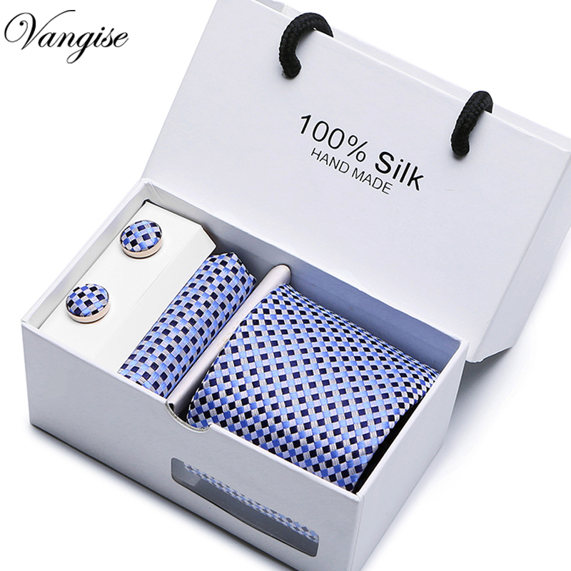 Vangise 8cm New High-quality Men's Ties Gravatas Dos Homens Tie Set Ties For Men Striped Neckties Gift Box Packing