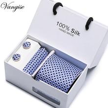 Vangise 8cm New high-quality mens ties gravatas dos homens tie set for men striped neckties gift box packing