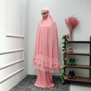 Image 3 - 2 조각 여자기도 Hijab 복장 두바이 이슬람교 Khimar Jilbab 오버 헤드 Abaya 의류 라마단 치마 Kaftan 단색 세트 이슬람교