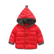 Cotton parka Girls Winter Kids Coat Hooded Child jacket Solid Red Bow Cute Warm Outerwear Korean Children Clothing