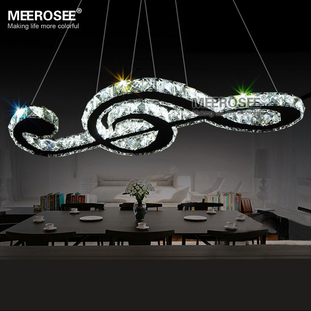 US $236 0 |New Arrival LED chandelier Crystal music note suspension light  fixture Fancy stainless steel LED drop lamp for Restaurant Hotel-in