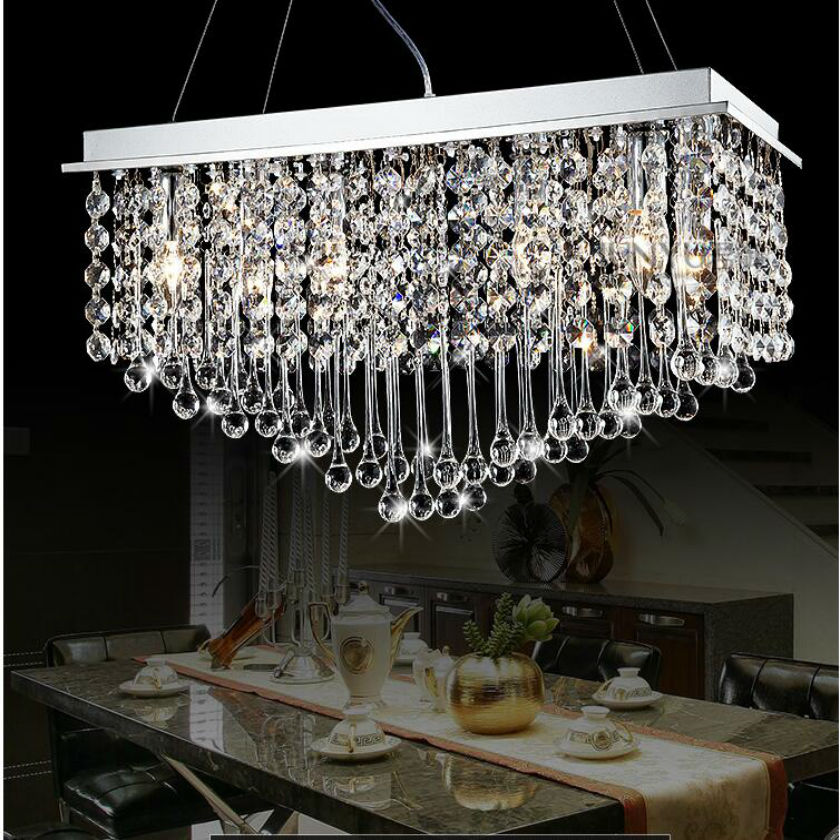 2015 Modern minimalist fashion creative E14  rectangular led  crystal chandelier 31w-40w  Stainless steel  Length 60cm or 80cm minimalist s p e w