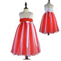 Heißer Valentinstag Baby Mädchen Geschenk Weiche Tulle Long Kleid Rose Blumen Kinder Kinder Tutu Kleid Mädchen Kleidung Sommer kleid