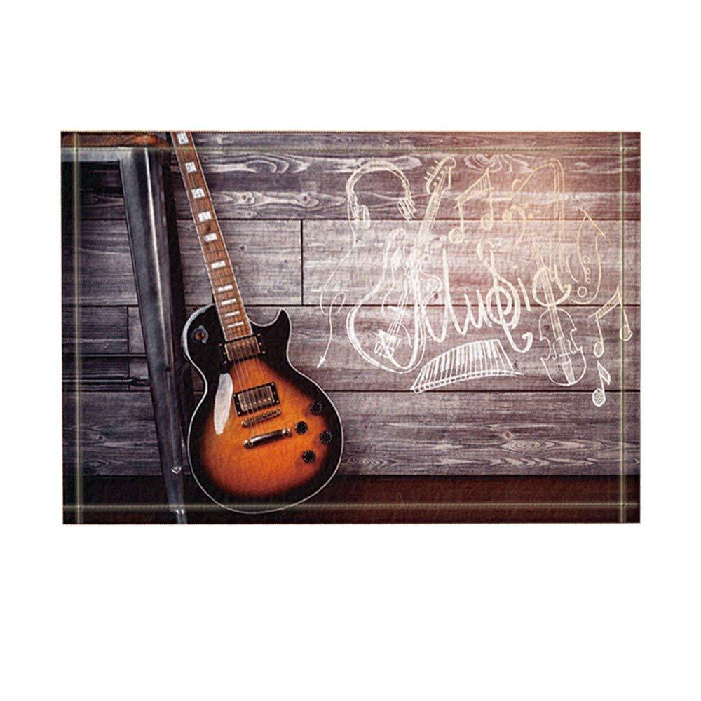 Custom Guitar Music Door Mats Cover Non-Slip Machine Washable Outdoor Indoor Bathroom Kitchen Decor Rug Mat