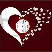 3D Wall Clock Modern Design DIY klok Heart Wall Sticker Decal Set for Home Decorationduvar saati reloj de cocina de pared