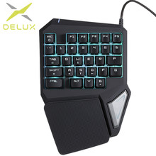 Delux T9 Pro Professional One/Single Hand Gaming Keyboard USB Wired Esport Gamer Keyboard 29 Key Coloful LED Backlit for LOL(China)