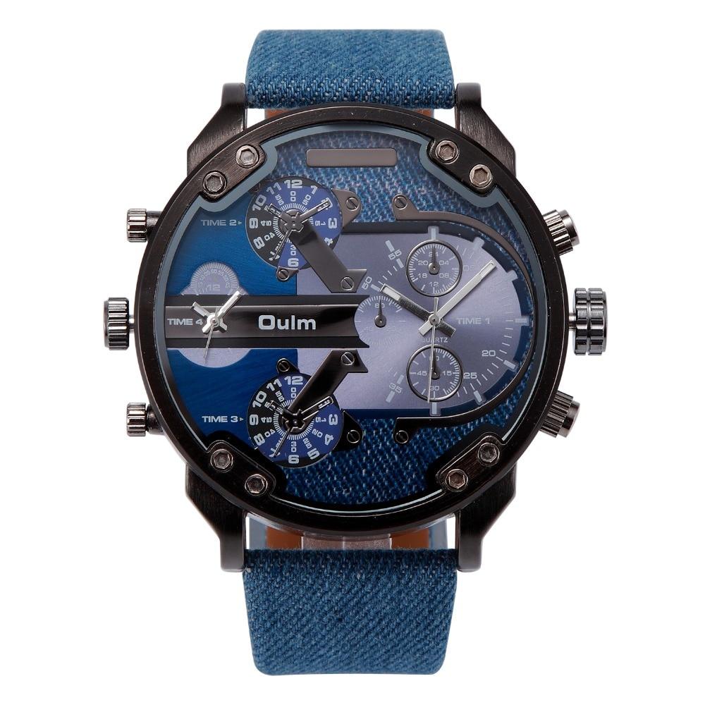 2018 OULM Marke Luxus-uhr Männer Kühlen Cowboy Sport Navy Marine Military Uhren für Männer Leinwand Strap 2 Zeitzone quarz-uhr