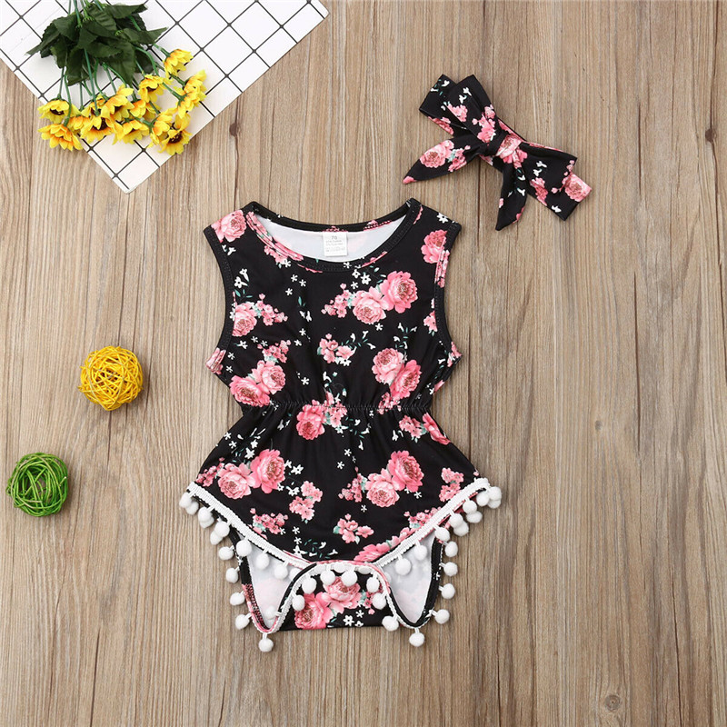 Neugeborenes Baby Floral Bodysuits Body Bebe One-Pieces Clothes  Baby Clothing Cotton Sleeveless Newborn Overall Sommer Sunsuit