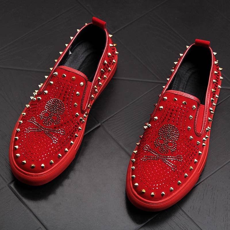 Rivets Charm Fashion Forward Men Casual Comfort Shoes Red Slip On Rhinestone Skull Charm Man Leisure Boast Shoes 38-43 1