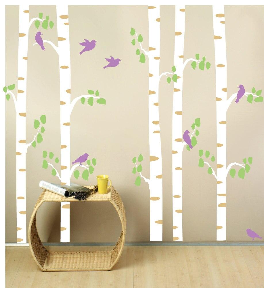 Abedul rboles pared rbol bosque con aves hojas inicio for Adhesivos pared dormitorio
