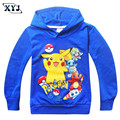 2016 Pokemon Go T-shirt Autumn Long Sleeves T-shirt For Kids Hooded Clothes Pikachu Tops Children's Tees Black Blue Sweatshirt