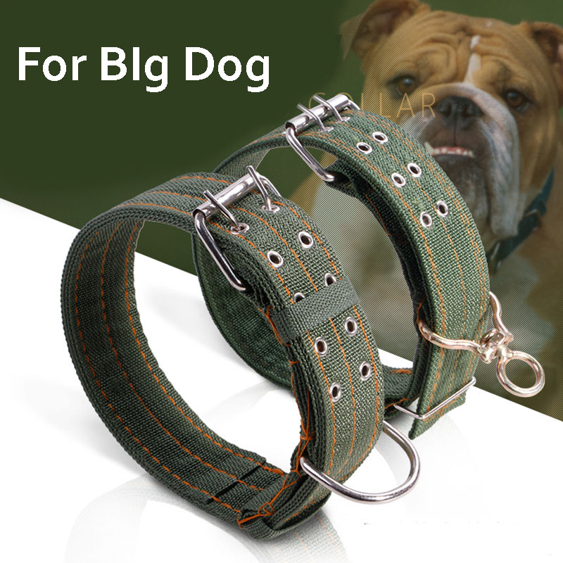 Durable Canvas Big Large Dog Collar Pitbull Golden Retriever German Shepherd Dog Collar Pendant Necklace Two Sizes