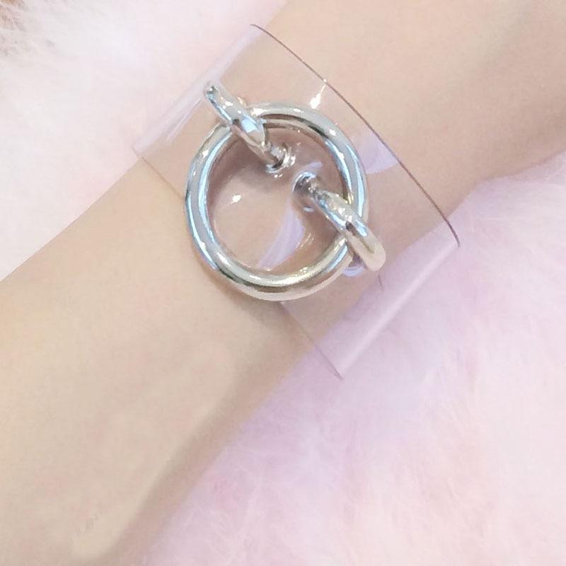 Lolita Kawaii Cuff Handmade Punk Rock Clear Transparent Handcuff Round Wrist Bracelet Bangle Wristlet