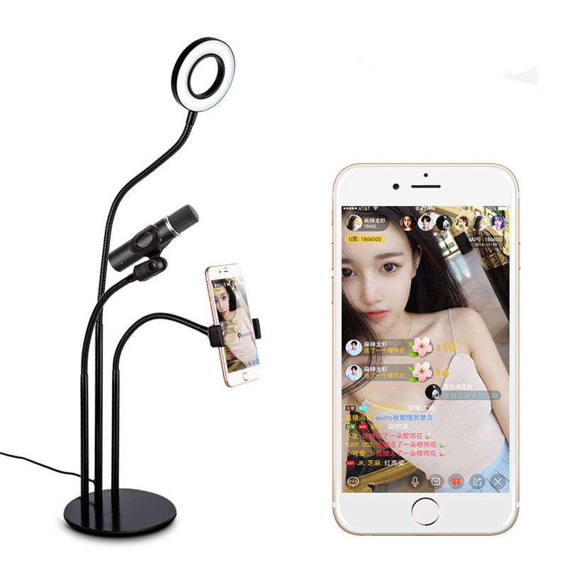 WRUMAVA LED Selfie <font><b>Light</b></font> <font><b>Cell</b></font> <font><b>Phone</b></font> Stand with Microphone Holder for Live Stream.Dimmable for iphone Samsung Smartphone Facebook
