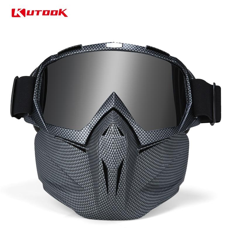 KUTOOK Motoneige Masque lunettes de ski protection uv Snowboard Lunettes Coupe-Vent D'hiver Visage Masque homme femme Neige lunettes de sport
